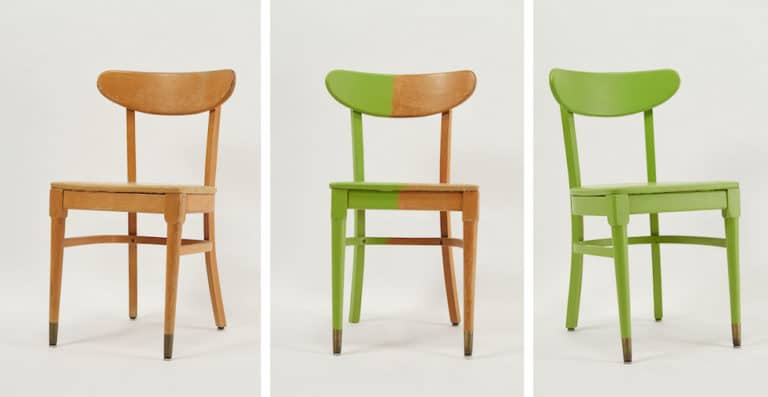 Three Stages Of Painting A Chair